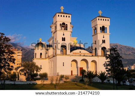 new church still unopened, on the main road Ulcinj, Montenegro - stock photo