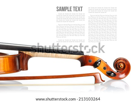 new classical violin on white background template - stock photo