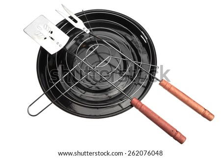 New Clean Barbecue Grill and BBQ Tolls Isolated On White - stock photo