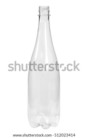 New, clean, empty plastic bottle on white background