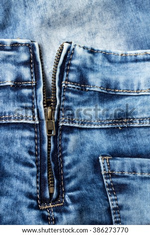new clean jeans background or texture with pocket and zipper
