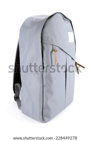 New closed backpack isolated on white  - stock photo