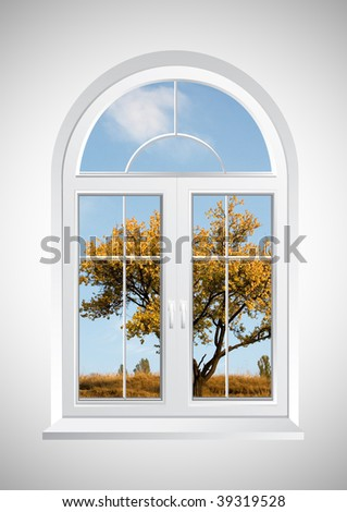 New closed plastic glass window frame isolated - stock photo