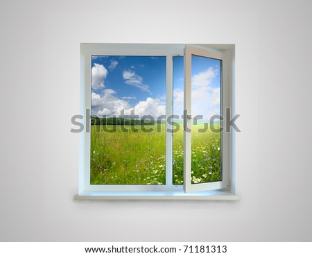 New closed plastic glass window frame isolated on the white background - stock photo