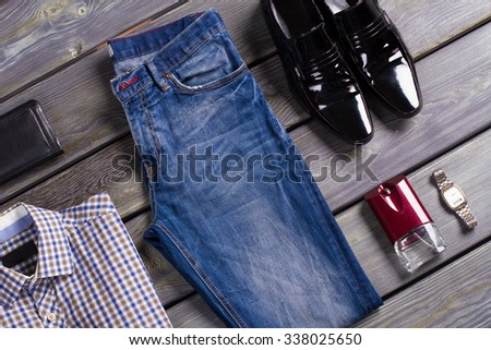 New collection of men's clothing. - stock photo
