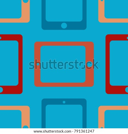 New color seamless pattern with tablet PC.