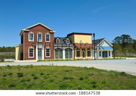 New Commercial Building with Retail and Office Space available for sale or lease - stock photo