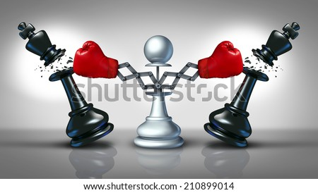 New competition business concept with a chess pawn punching and destroying competitors as two king pieces with hidden red boxing gloves as a metaphor for innovative corporate attack strategy. - stock photo