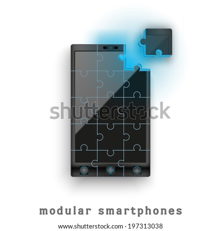 New concept development of a modular touchscreen smartphone. Mobile technology of the future. Bitmap copy. - stock photo