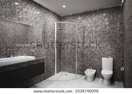 New concrete bathroom interior. Design and hotel concept. 3D Rendering