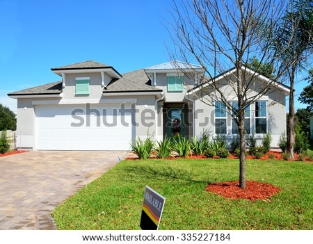 New constructed home for sale on the east coast of Florida. - stock photo