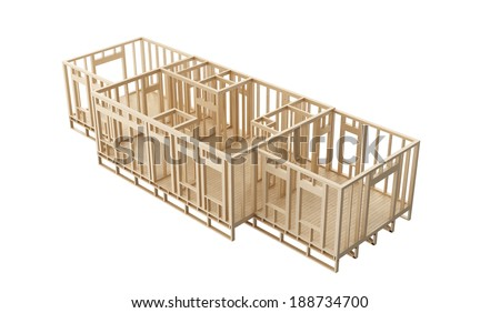 New construction home wooden walls and flroor framing on white background