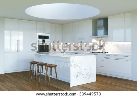 New Contemporary White Kitchen Interior with round second light . 3D render - stock photo