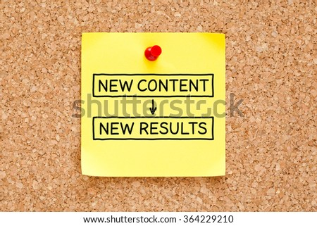 New Content New Results written on a yellow sticky note pinned on bulletin board. - stock photo