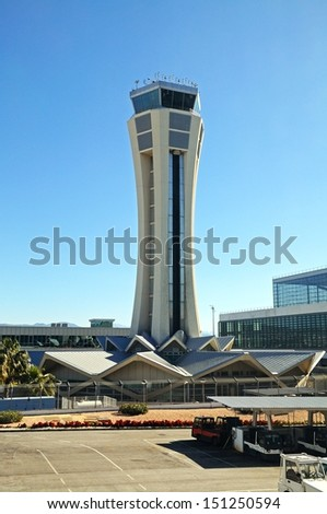 New control tower, Malaga airport, Malaga, Andalusia, Spain, Western Europe. - stock photo