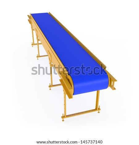 New Conveyor isolated on white - 3d illustration - stock photo