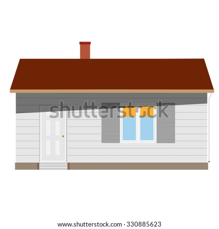 New cottage, house one story, real estate, home raster isolated, sale