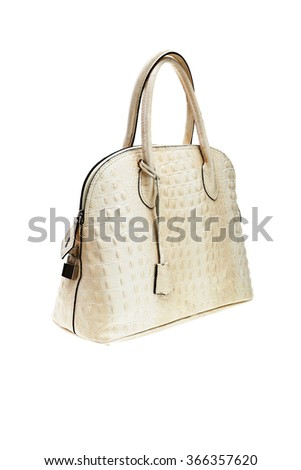 New creme textured womens bag isolated on white background. - stock photo