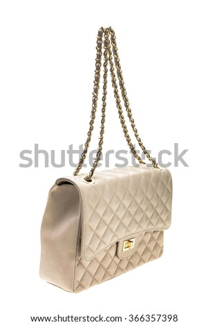 New creme womens bag isolated on white background. - stock photo