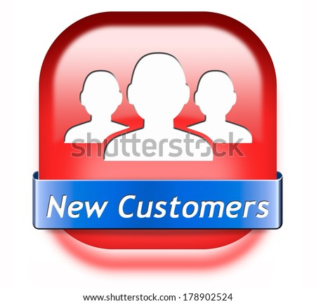 new customers red button attract buyers increase traffic by product marketing service and promotion study customer base and profile - stock photo