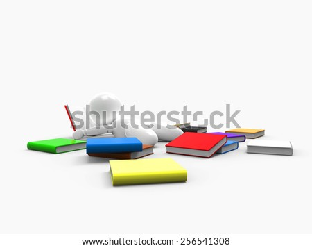 new 3D people - lying on the floor and reading a book - stock photo