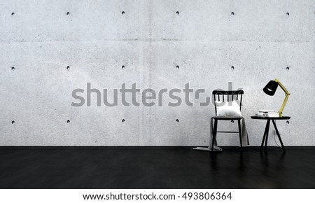 new 3D rendering of black chair and concrete wall