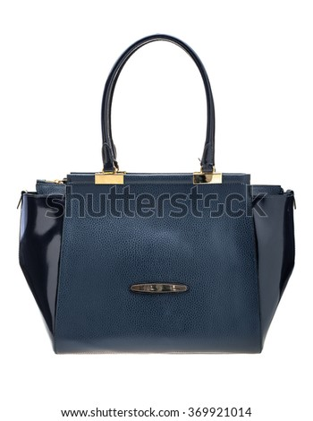 New dark blue womens bag isolated on white background.