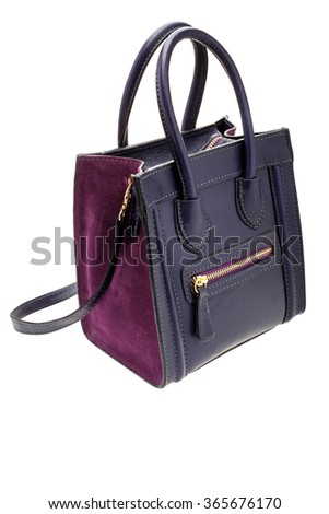 New dark violet womens bag isolated on white background. - stock photo