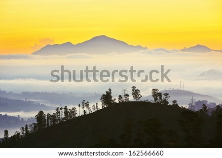 New day - Sunrise in mountains in central part of Sri Lanka.  - stock photo