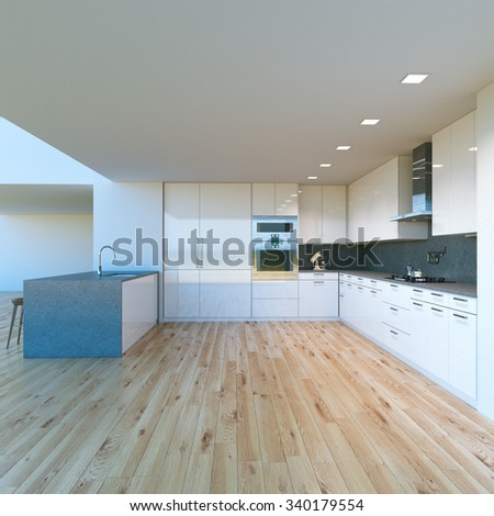 New decorated contemporary white Kitchen in luxury big home . 3D render - stock photo