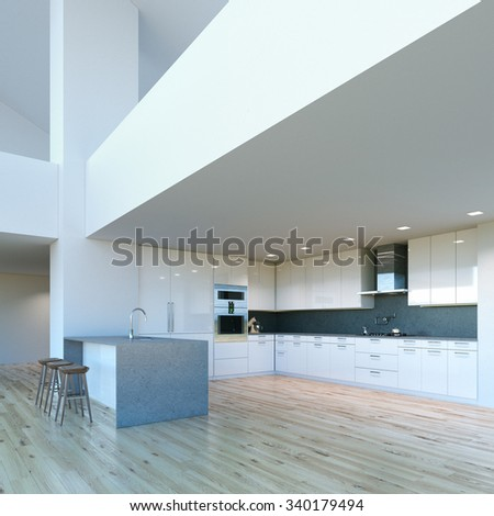New decorated contemporary white Kitchen in luxury big interior . 3D render - stock photo