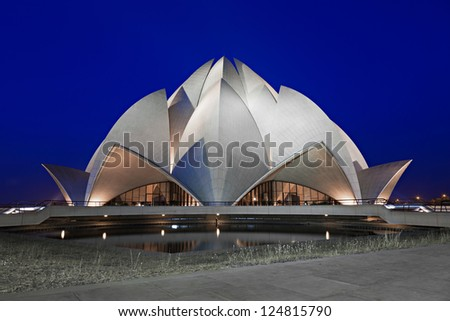 NEW DELHI, INDIA - APRIL 08: Lotus Temple on April 08, 2012, New Delhi, India.The Bahai House of Worship in New Delhi, popularly known as the Lotus Temple due to its flowerlike shape.
