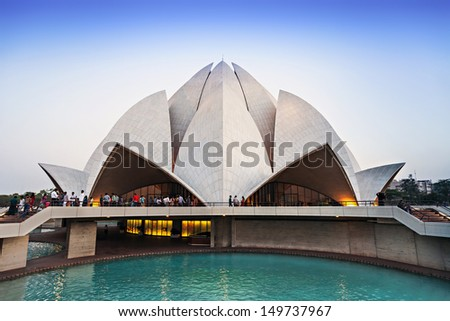 NEW DELHI, INDIA - APRIL 08: Lotus Temple on April 08, 2012, New Delhi, India.The Bahai House of Worship in New Delhi, popularly known as the Lotus Temple due to its flowerlike shape