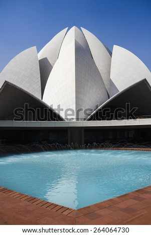 New Delhi, India - February 13, 2015 : Lotus Temple in Delhi. The Bahai House of Worship in New Delhi, popularly known as the Lotus Temple due to its flowerlike shape.