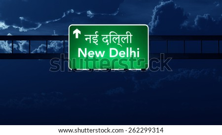 New Delhi India Highway Road Sign at Night - stock photo