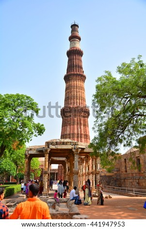 NEW DELHI, INDIA - 16 JUNE 2016 : Qutab Minar is 120 meters, the tallest brick minaret in the world. Surrounding with the Qutab Complex, UNESCO World Heritage Site