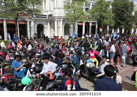 New Delhi, India - March 13, 2016: 5 days after International Women's Day, NBT organized Delhi's 4th open & free All Women Bike Rally, flagged off by Delhi's Chief Minister Kejariwal at Rajiv Chowk.