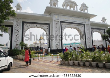 NEW DELHI, INDIA - SEP 10, 2017 - Traffic outside the gurdwara, a place of worship for SikhsNew Delhi, India