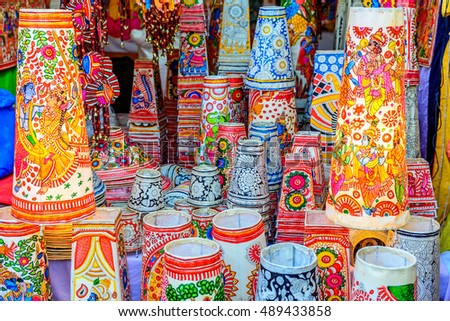 New Delhi, India - September 11, 2016: Traditonal colorful Buddha souvenir shop at Dilli Haat, New Delhi