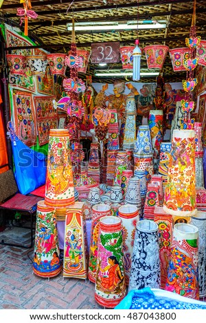 New Delhi, India - September 11, 2016: Traditonal colorful souvenir shopsat Dilli Haat, New Delhi