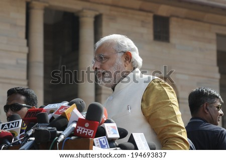 NEW DELHI-MAY 20:  Prime Minister Narendra Modi at Rashtrapati Bhavan during a press conference on May 20, 2014 in New Delhi , India.