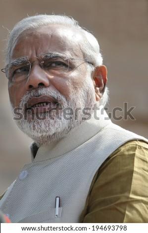 NEW DELHI-MAY 20:  Prime Minister Narendra Modi speaking at a press conference at Rashtrapati Bhavan on May 20, 2014 in New Delhi , India.  - stock photo