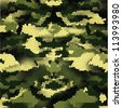 New Design of 3D Green digital camouflage seamless pattern. - stock photo