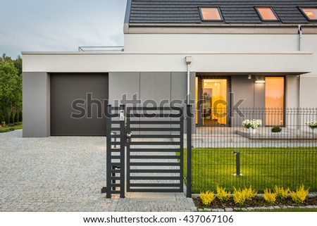New Design Villa Decorative Fence Garage Stock Photo (Royalty Free ...