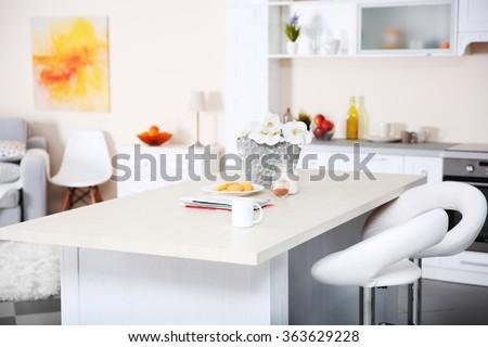 New designed kitchen interior - stock photo