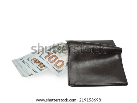 New 100 dollar banknotes in wallet - stock photo