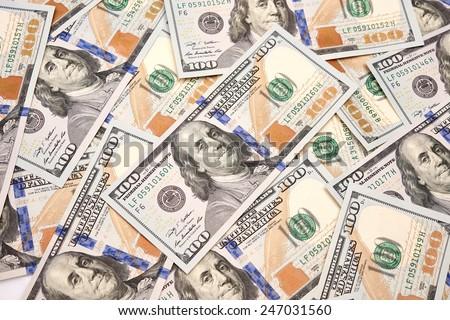 new 100 dollar bills - stock photo