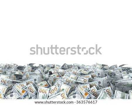 new dollars banknotes on the ground isolated on white