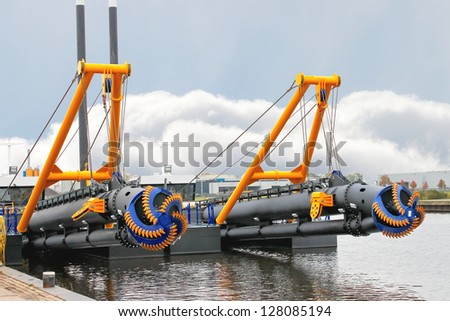 New dredge ship in the Dutch shipyard - stock photo