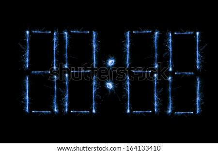 New editable shiny blue magic modern time clock - stock photo